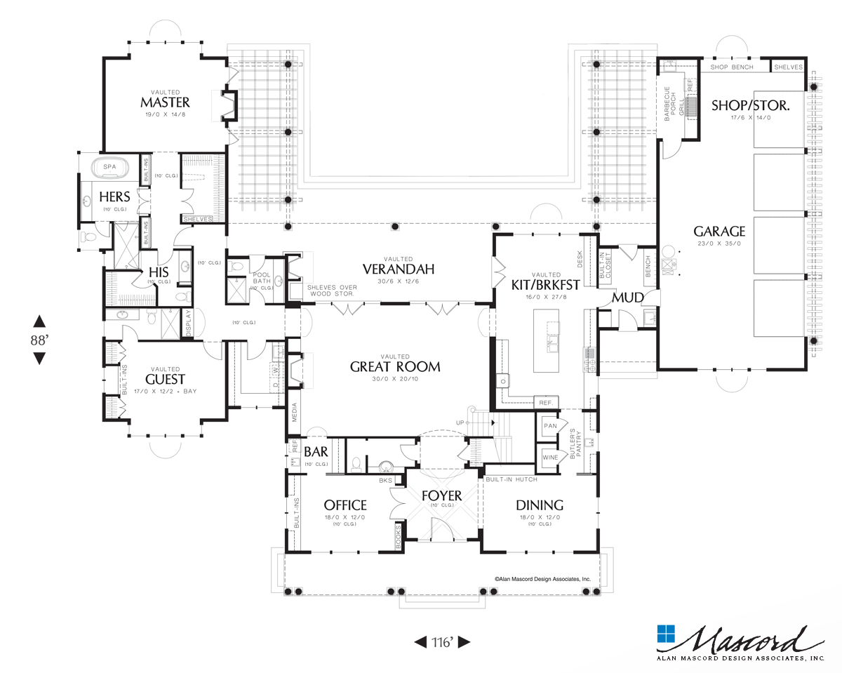 Main Floor Plan Of Mascord Plan 2443 The Seligman Master Suite Features His And Hers Bathrooms Pool House Plans Victorian House Plans U Shaped House Plans