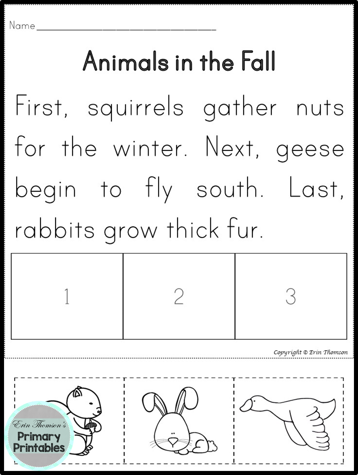 Sequencing Stories Fall Activities