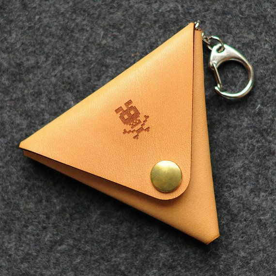 Triangle Leather Coin Case with Key Ring