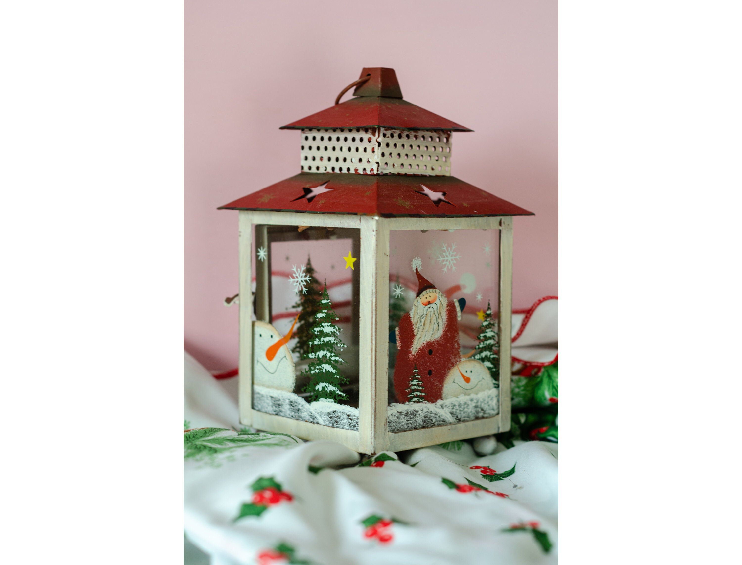 Metal Candle Holder Lantern with Hand painted Christmas Snowman Decorations