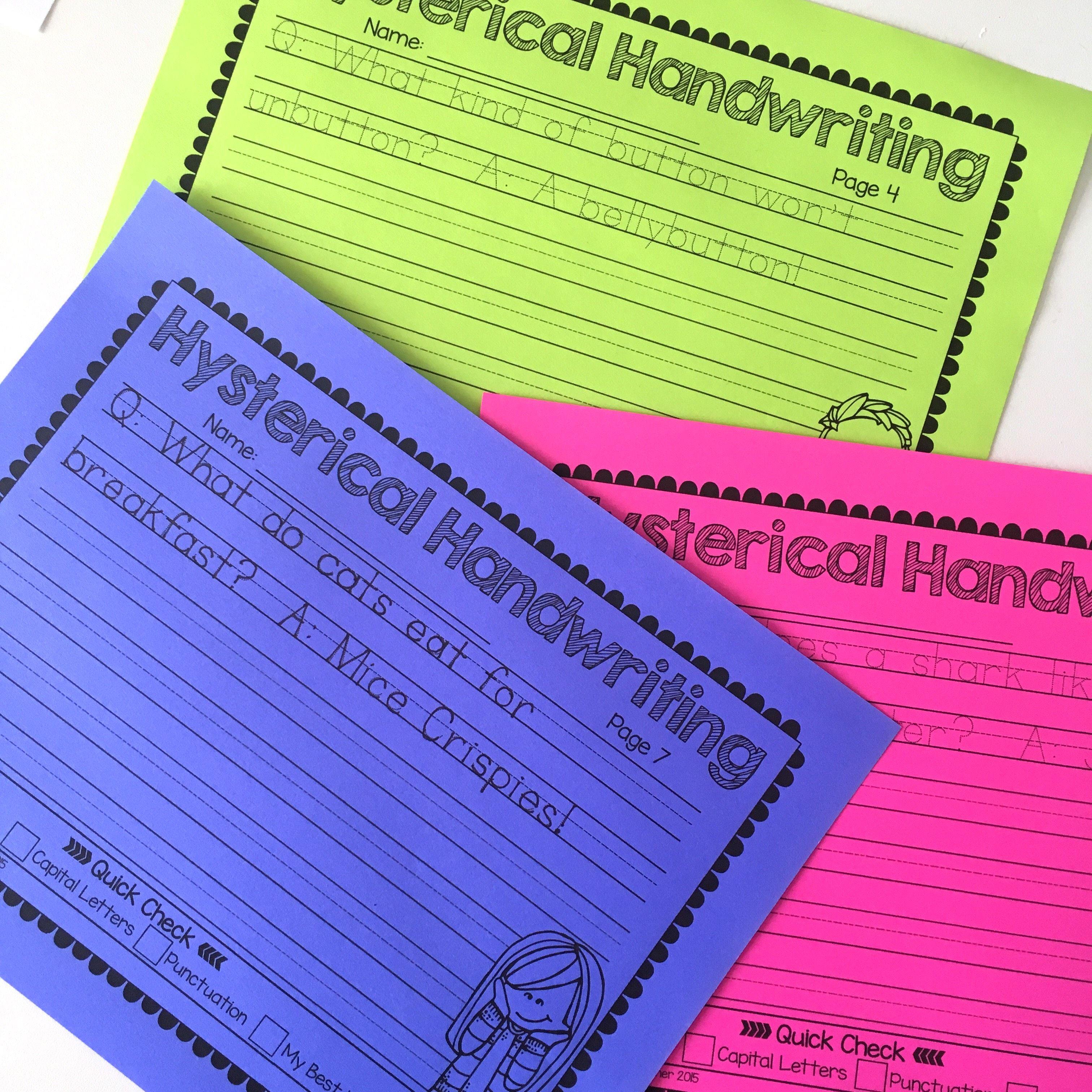 Hysterical Handwriting Worksheets