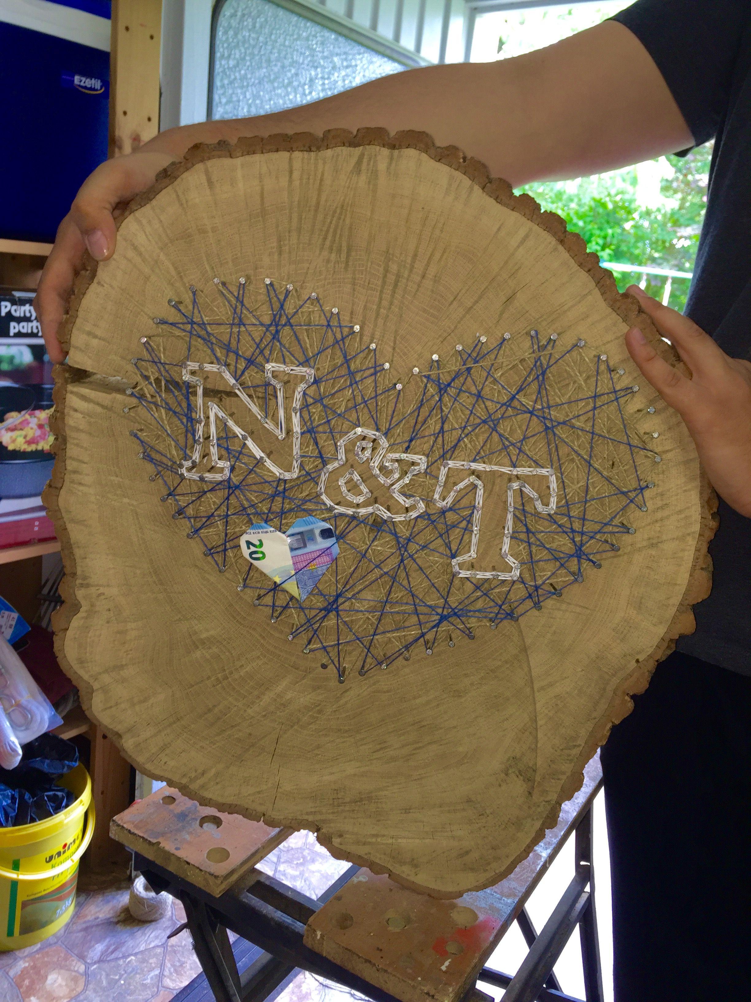 Hochzeit Geldgeschenk Rustikal Verpacken Holz Baumscheibe Nagel