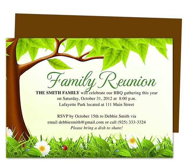 Family Tree Reunion Party Invitations Templates Invitation – Family Gathering Invitation Wording