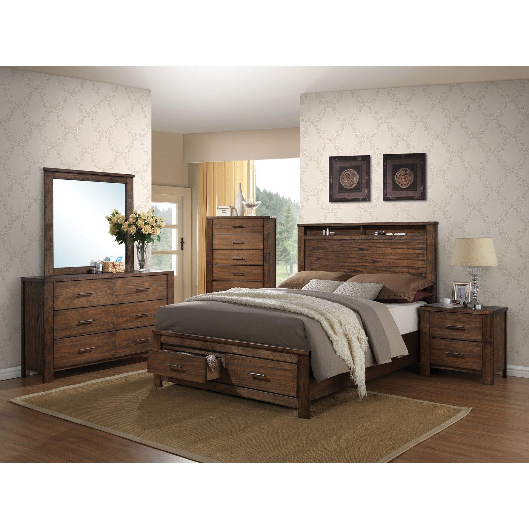 Merrilee Oak 4piece Storage Bedroom Set