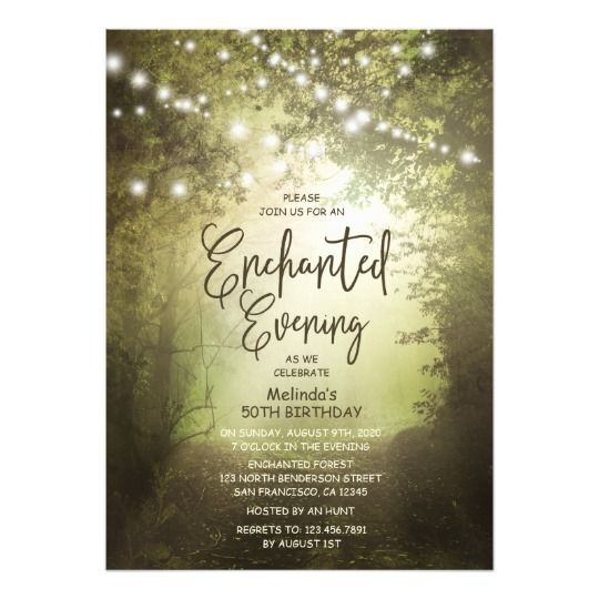 Enchanted Rustic Woodland String Lights Birthday Card Enchanted