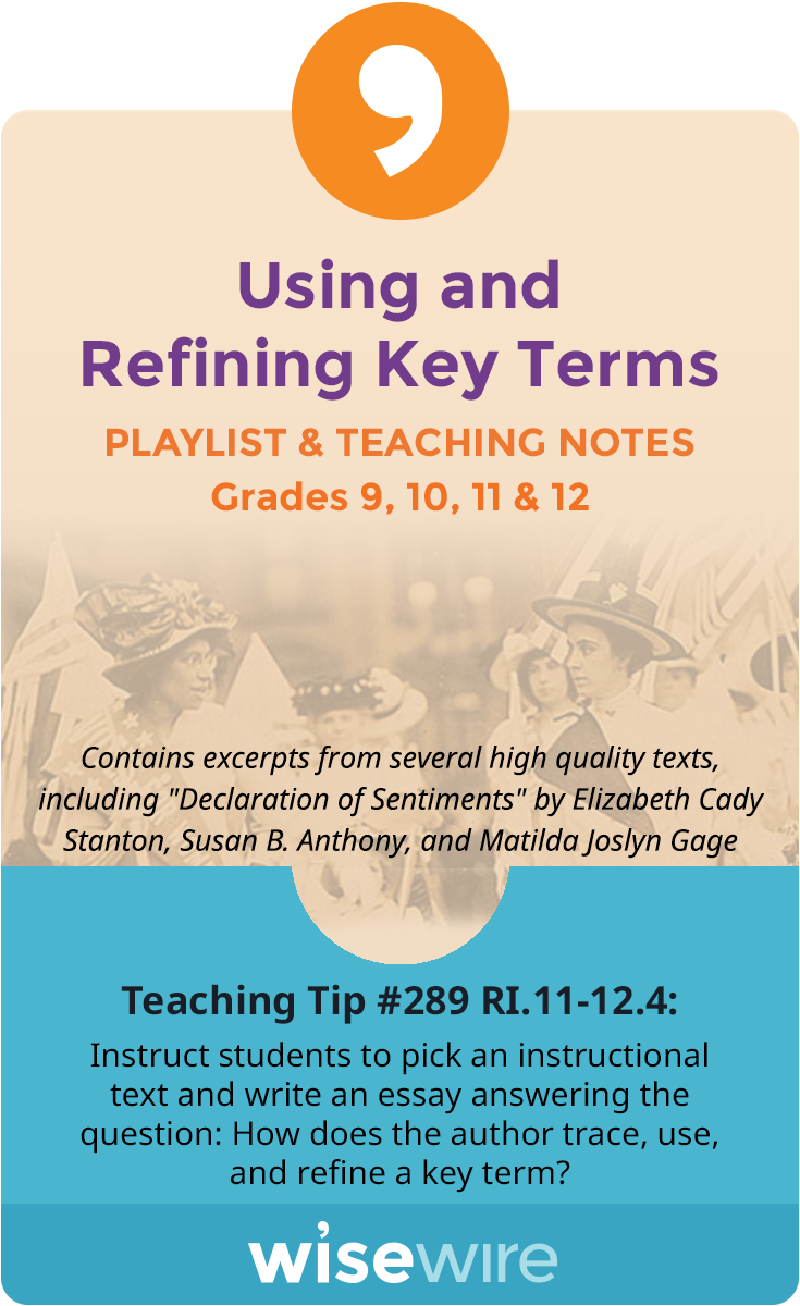In this playlist, students explore standard RI.11-12.4. They will identify key terms in a passage and trace how the refinement of key terms is deve…