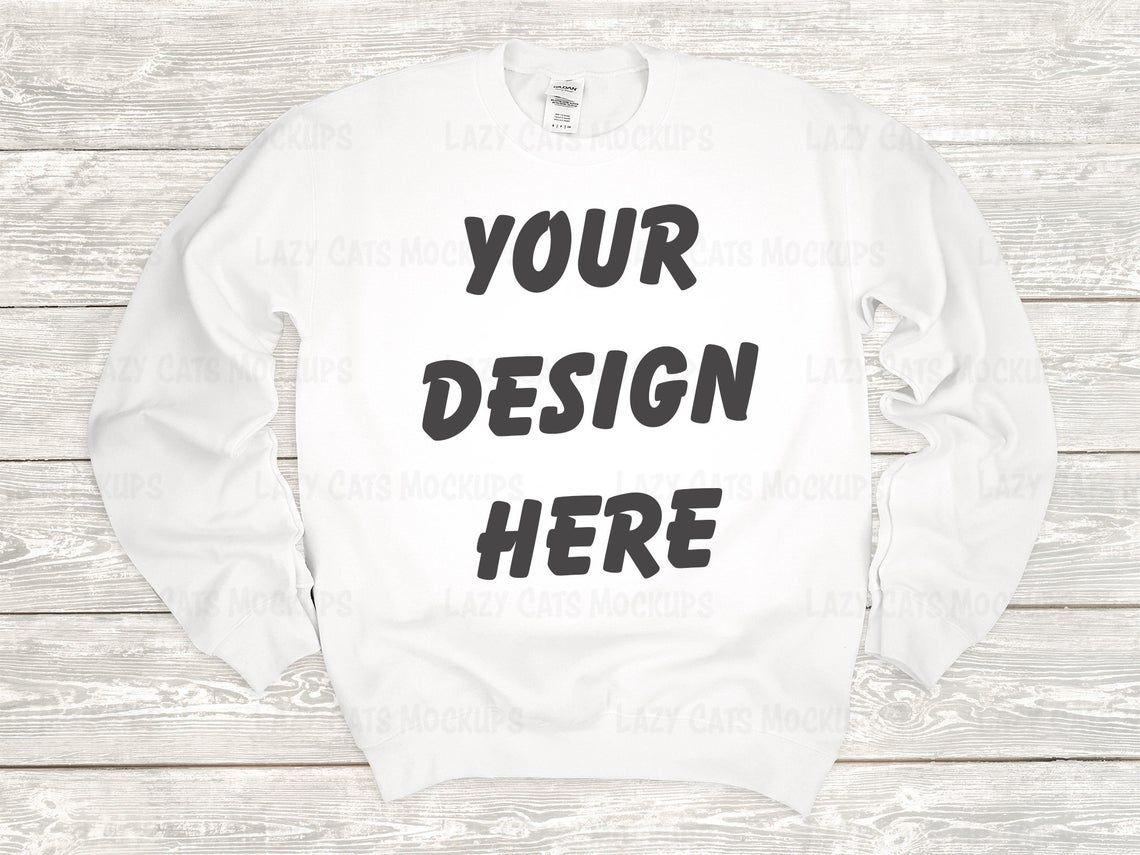 White Gildan 18000 Sweatshirt Mock Up [ 855 x 1140 Pixel ]