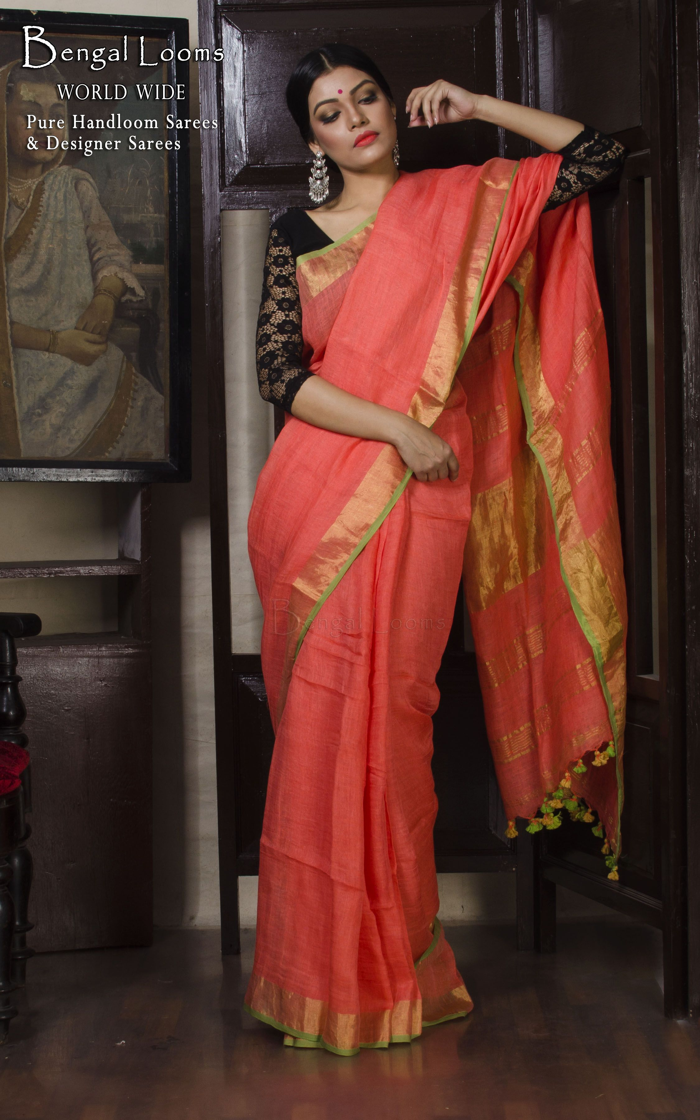 008137c0cfc00 Linen Saree with Antique Gold Zari Border in Peach and Green