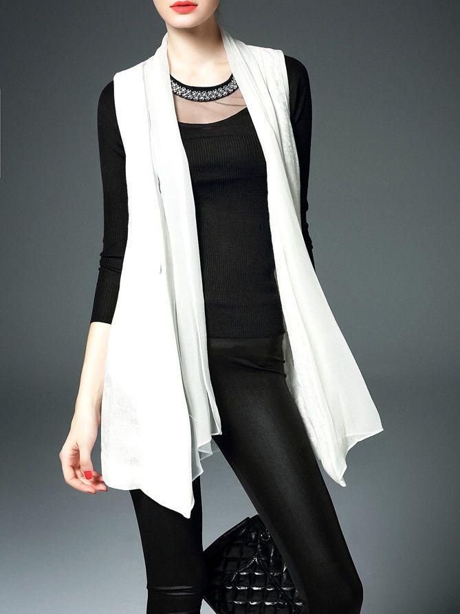 ELENYUN Silk Scarf Neckline Linen Vest Tunic $109.99