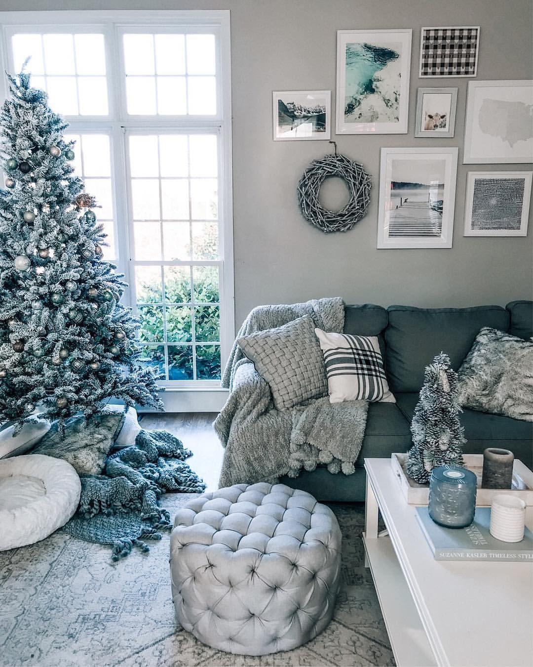 christmas tree gray living room