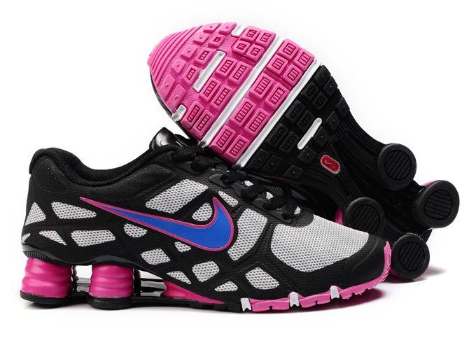 SHOX TENNIS SHOES | Womens Nike Shox Turbo12 Tennis Shoes Black/Pink/Jade  White