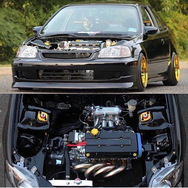 Ek Hatchback Black And Yellow Honda Civic Coupe Honda Civic Honda Vtec