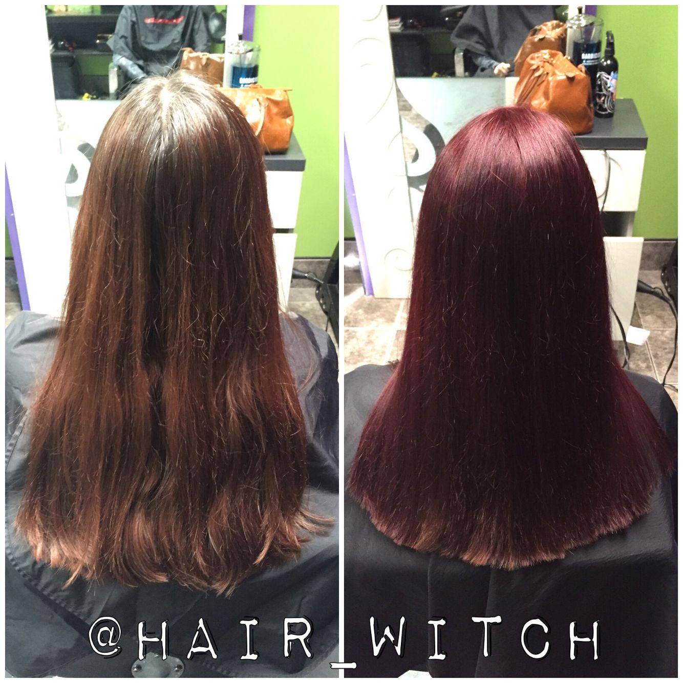All Over Brighter Red Violet Hair Color Using Matrix Socolor 4rv