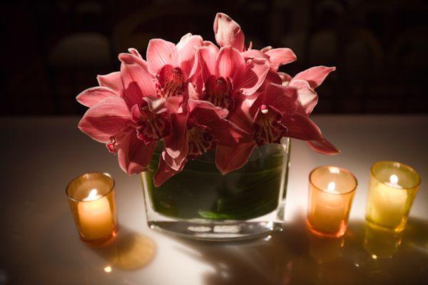 Pink Orchids in Oblong Vase