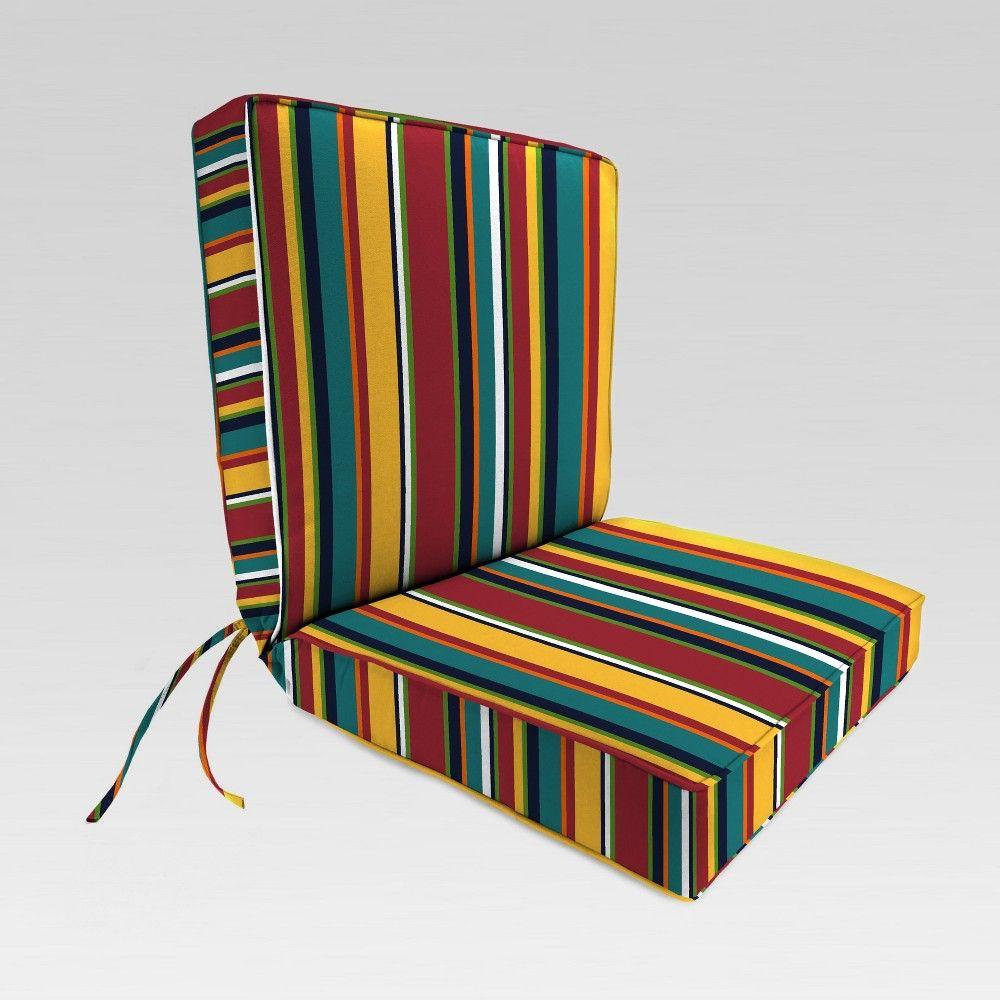 Outdoor Boxed Edge Dining Chair Cushion Blue Stripe Jordan