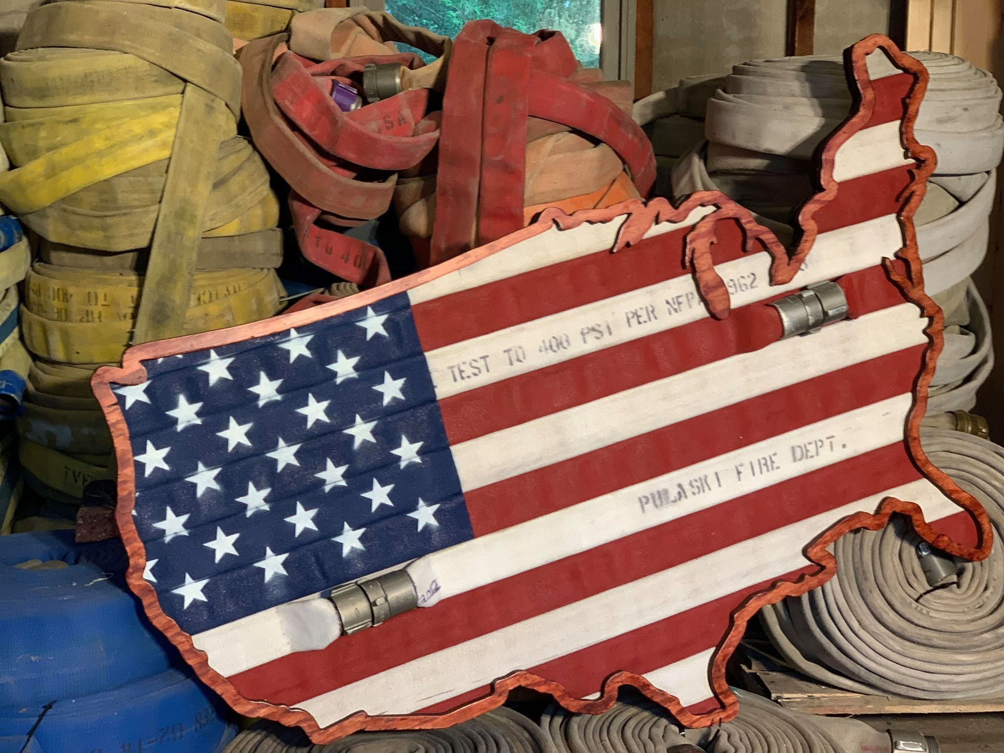 Fire Hose American Flag Show Your Pride For America The Etsy In 2020 Custom Flags Flag Stand Fire Hose