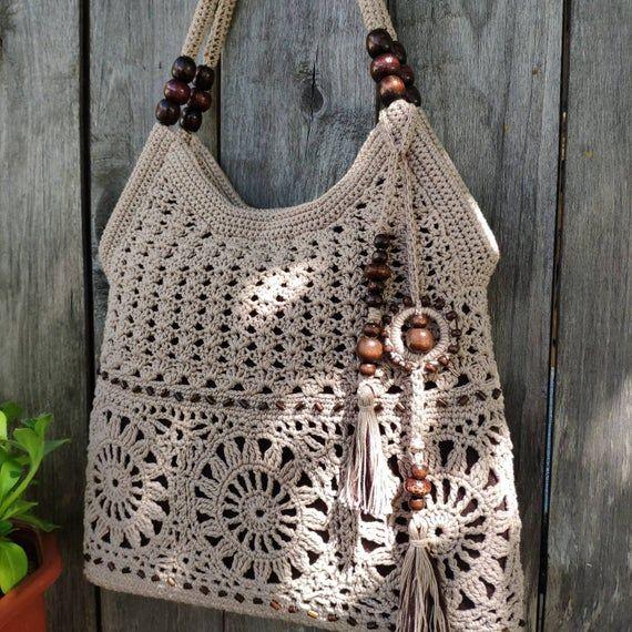 Orange handmade crochet bag Summer cotton boho style crochet purse handbag Summer crochet totebag Gift idea for women Bag with tassels
