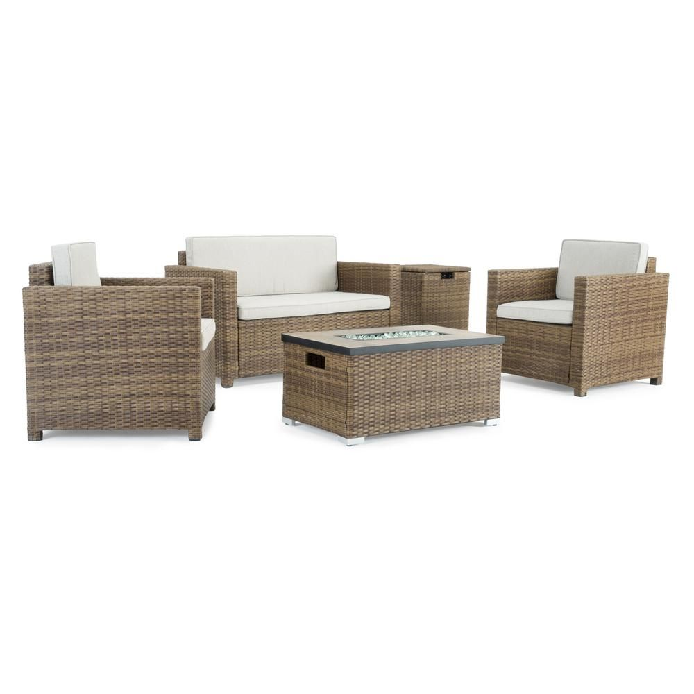 Sego Lily Boulder Brown 4 Piece Wicker Patio Fire Pit