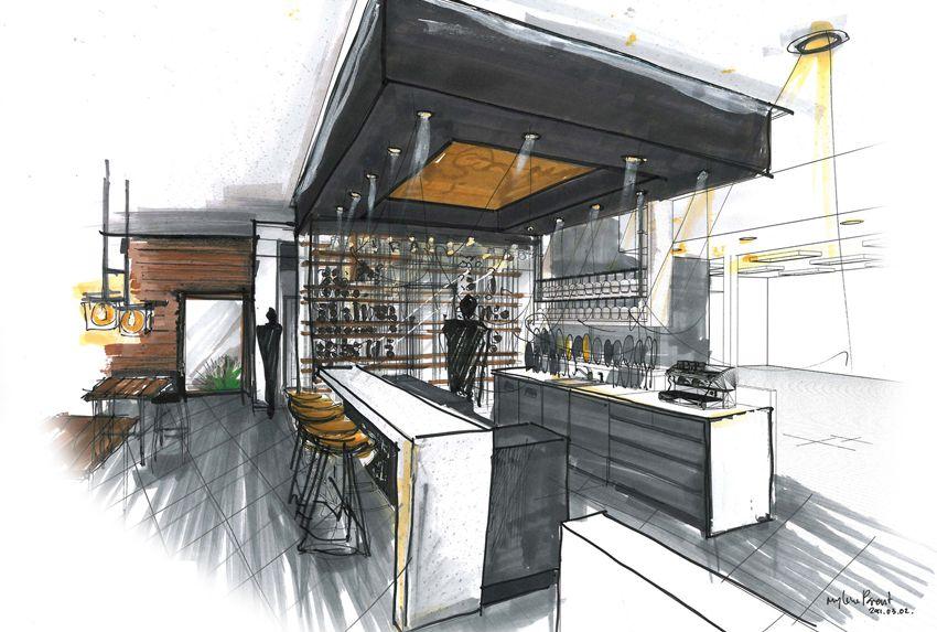 Esquisse restaurant design int rieur sur mesure r alisation mpadesign autres en 2019 - Dessin d interieur de maison ...