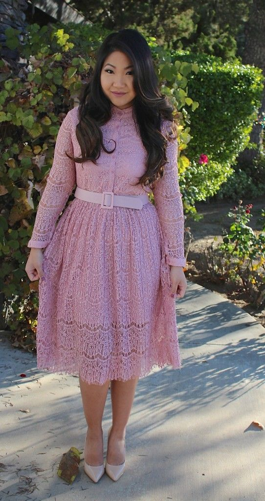 Pink Long Sleeve Lace Dress - Tia Alese Wong #SundayBest #ChurchOutfit #LdsBlogger #ModestOutfit #SundayBest #ChurchDress #ModestChurchOutfit #Blogger #fashionblogger #MidiDress #LDS #Mormon #OOTD #WhatIWore #OutfitInspiration
