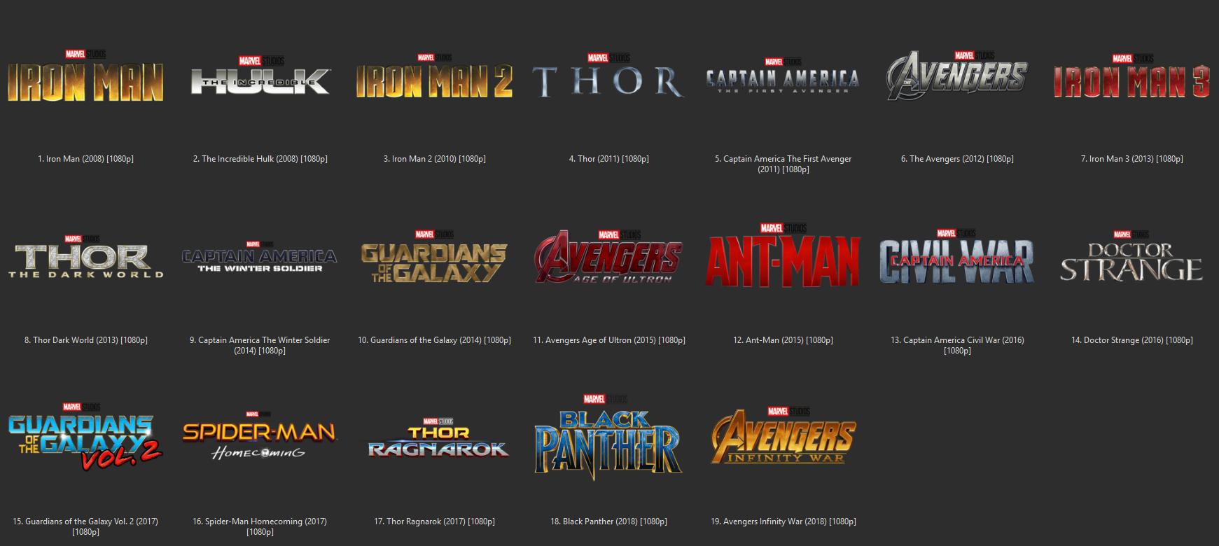 Marvel Cinematic Universe Folder icons (x256)