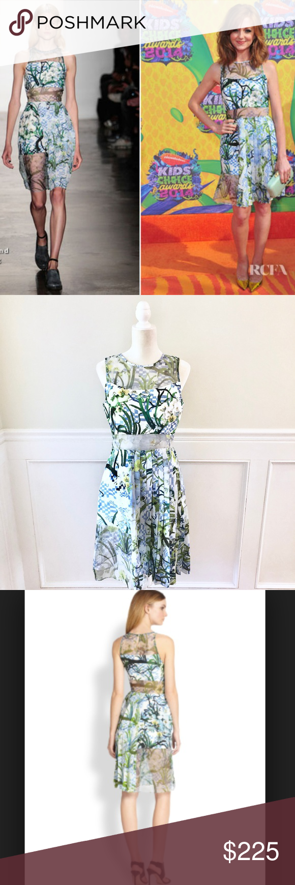 TIMO WEILAND Tabitha Silk Floral Dress Celeb Fave! Gorgeous silk dress by Timo Weiland. Feminine details like floral and pleats juxtapose with edgy mesh cutouts at neckline, midriff, and thigh. Perfect brand new condition. Blue/green/ivory. Lined.  Retail $595, sold out everywhere. This dress was featured in W Magazine (travel piece with Timo Weiland) and worn on the red carpet by Jayma Mays. Size 8 Bust 18 across Waist 15.5 across Shoulder to hem 38 Timo Weiland Dresses #wfaves