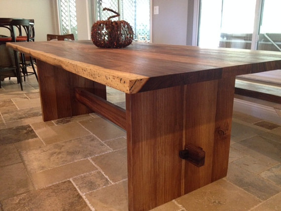 Solid Wood Slab Trestle Table Live Edge Made From Exotic Wood Brilliant Dining Room Tables Wood Design Decoration