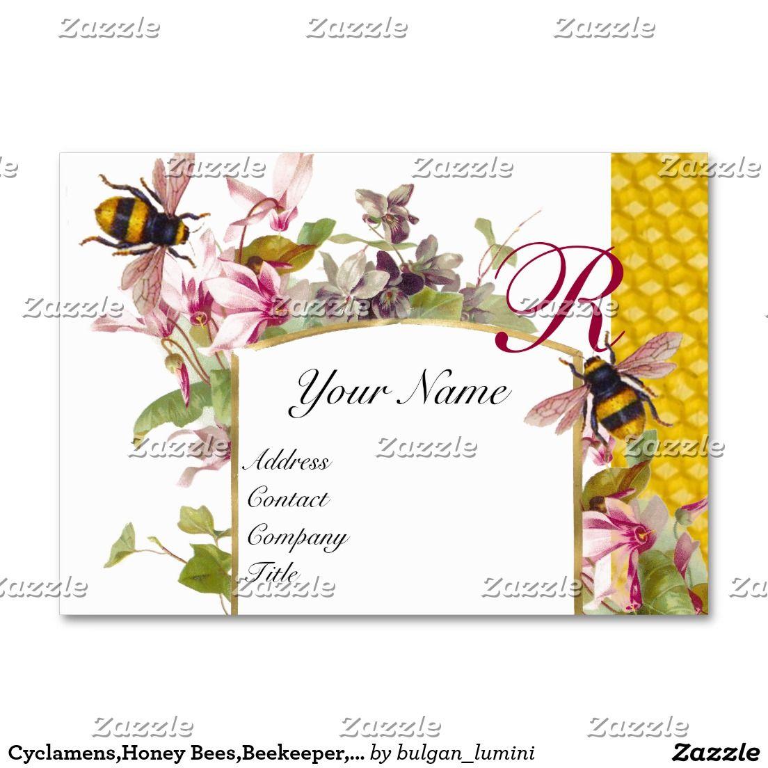 Cyclamens,Honey Bees,Beekeeper,Beekeeping Monogram Business Card ...