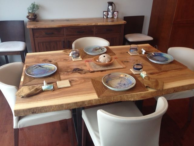Reclaimed Wood Slab Tables For Small Space And Condo Living