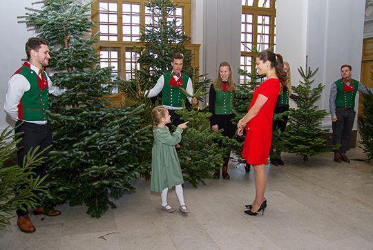 Kronprinsessan och Prinsessan Estelle tog emot granar - Sveriges Kungahus