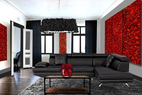 modele deco salon gris et rouge salon