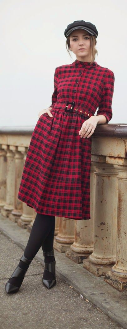 Red & Black Belted Cozy Dress + Lovely Hat / Best LoLus Street Fashion