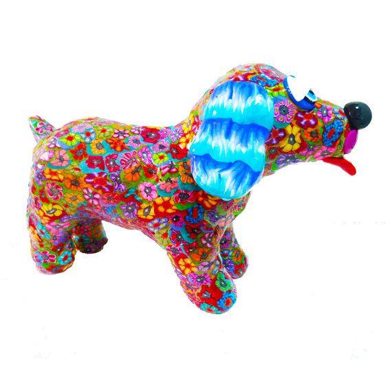 Dog figure , Dog sculpture, dog art, puppy,dog decor, dog collectible, dog lover,little puppy, colorful dog, dog decoration,whimsical dog
