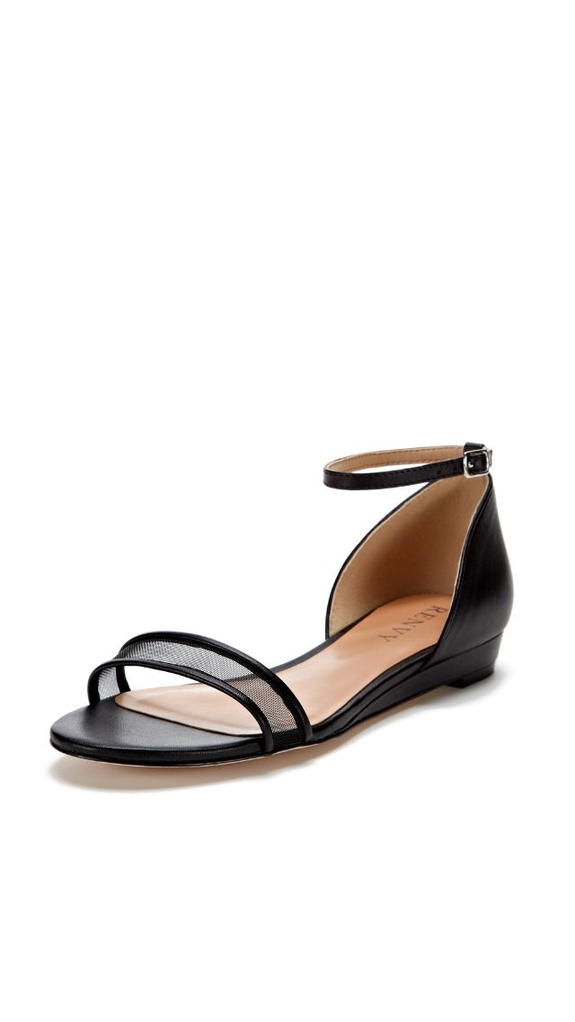 Simple Black Sandal Flats | RENVY