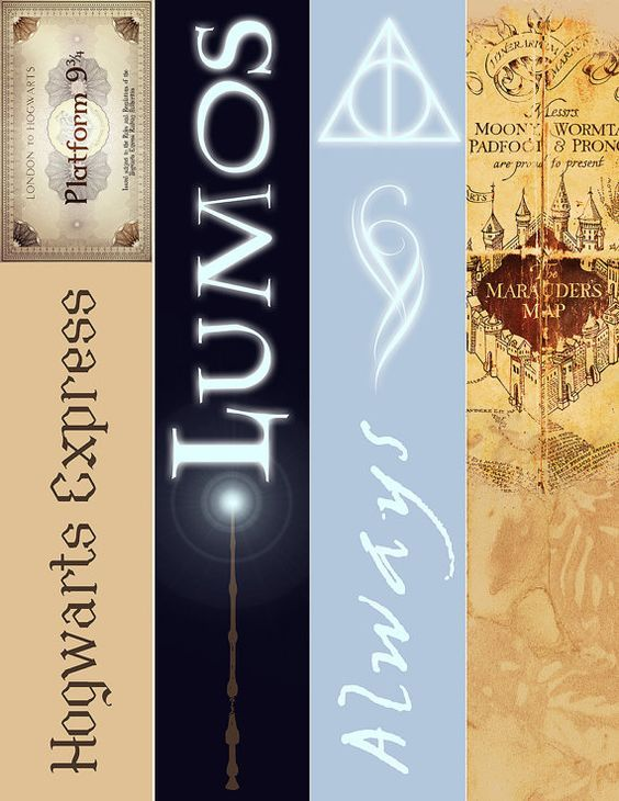 Harry Potter Bookmarks Set Of 4 Instant Download Always Marauders Map Lumos Hogwart Express Accessories JK Rowling Printable