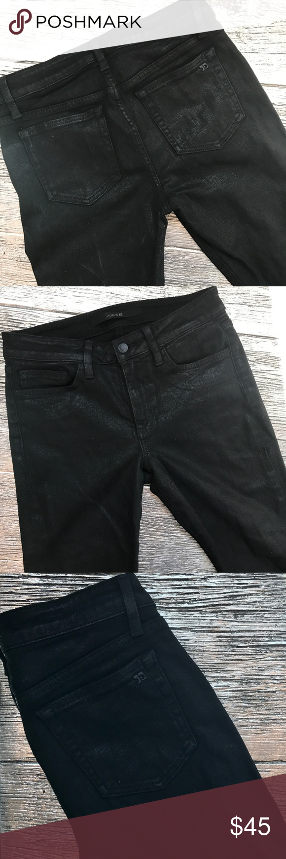 JOE'S JEANS Coated Skinny Ankle Jeans - New A slick coating lends a leather-like feel to these 5-pocket skinny jeans. Button closure and zip fly. Black. NWOT Joe's Jeans Jeans Skinny