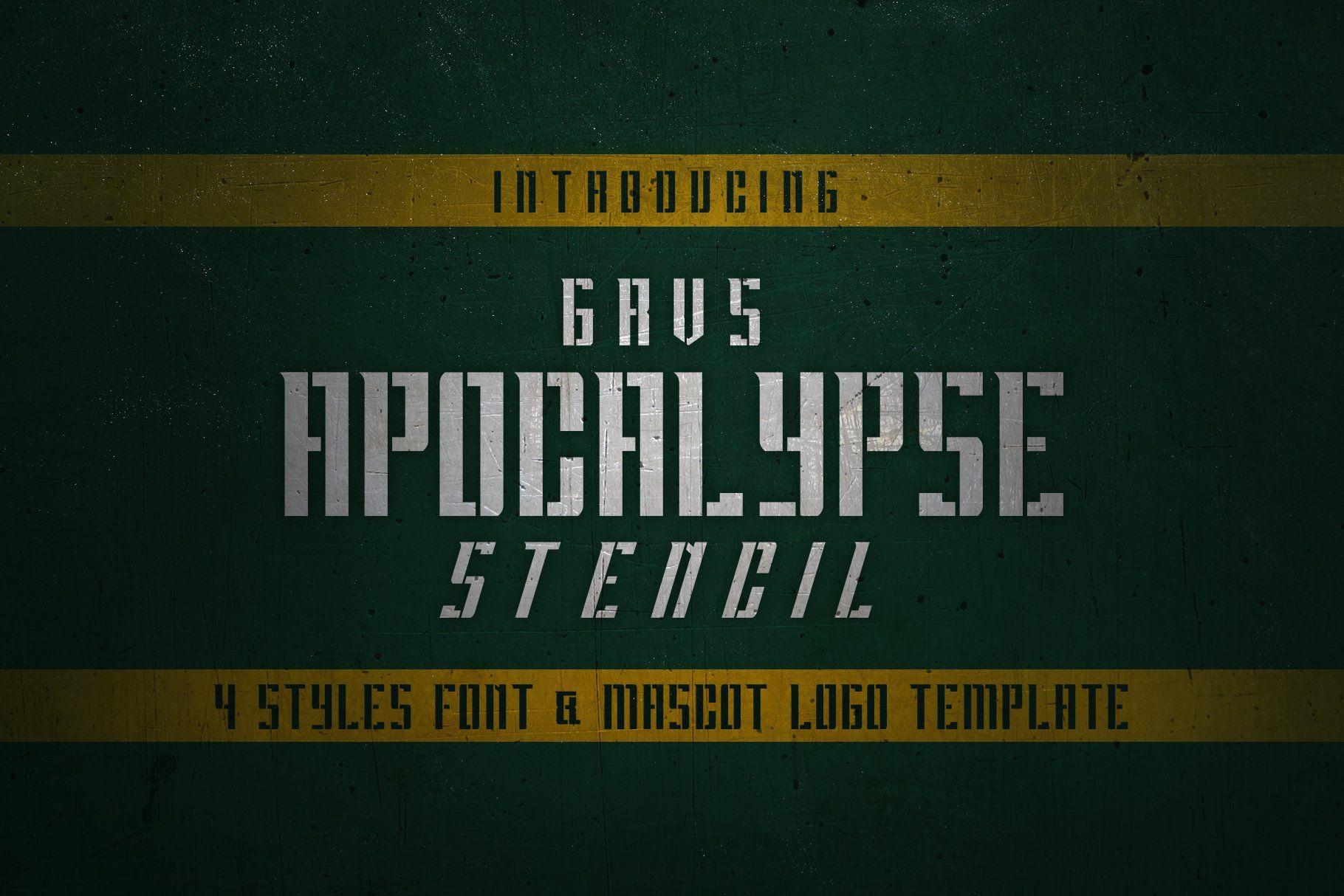 GRVS Apocalypse Stencil Font in 2020 Stencil font, Logo