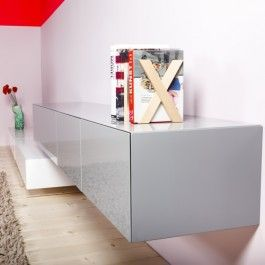 Edge 220 zwevend tv meubel - hoogglans grijs