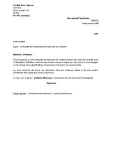 Lettre De Demande De Remboursement Des Frais De Scolarite Suite A L