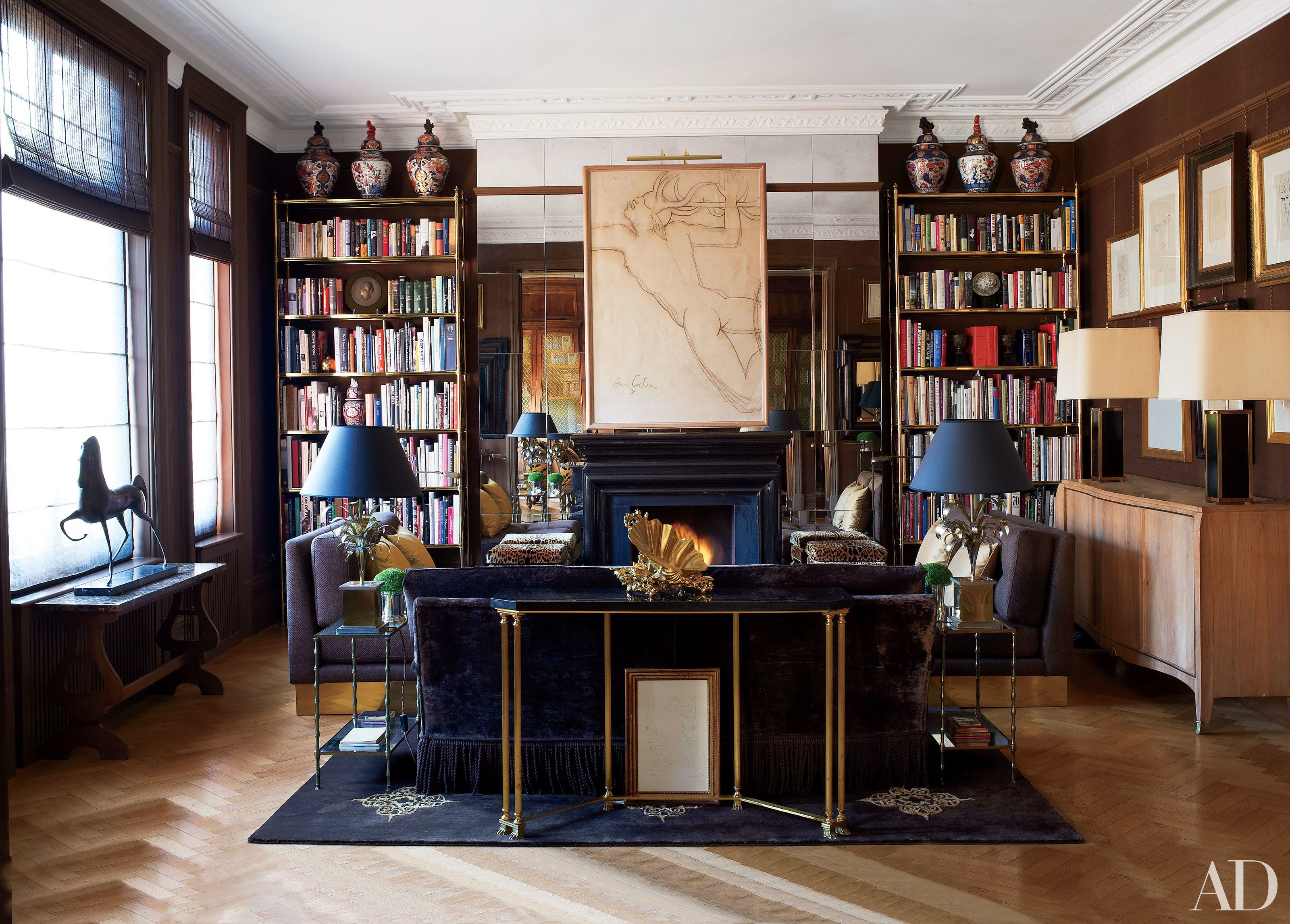 extravagant home office room. London Home Of Paolo Moschino And Philip Vergeylen. The Drawing Room Features A Pair Brass Bookshelves Custom Made After Billy Baldwin Design For Cole Extravagant Office R
