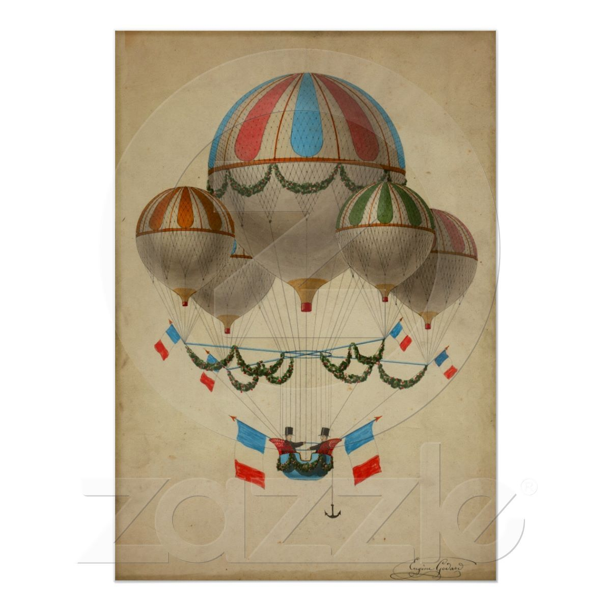 Vintage Poster French Hot Air Balloons Old Paris Lets Fly