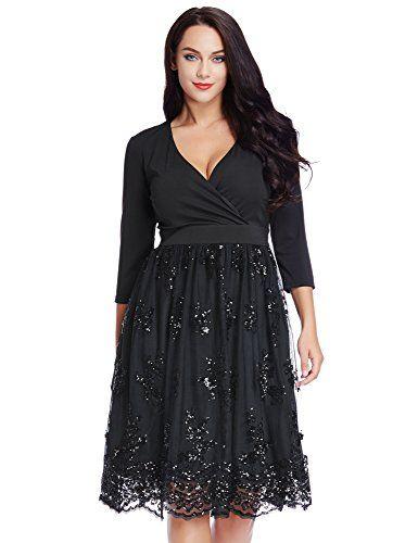 a165ff1738 Nice Grapent Women s Plus Size 3 4 Sleeve Surplice Sequin Mesh A Line  Skater Dress