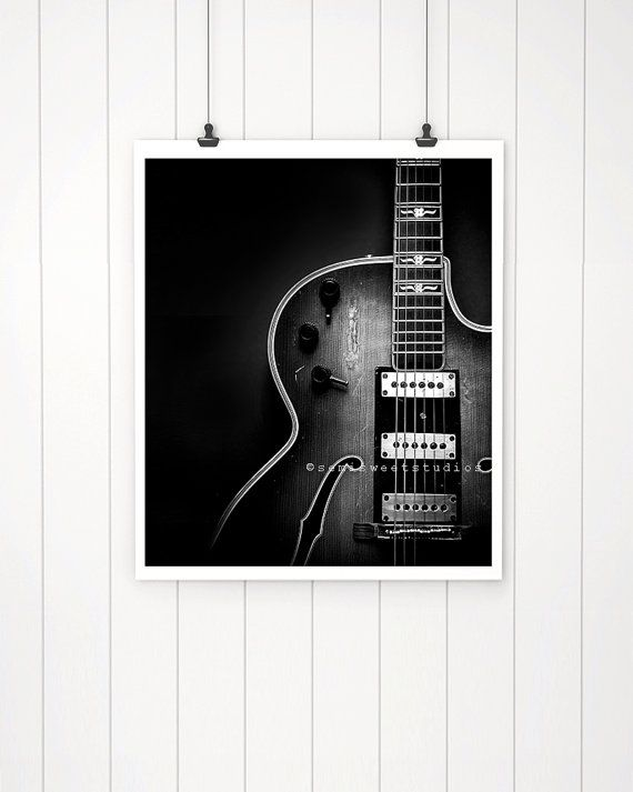 Guitar Art, Black and white guitar print, vintage guitar photograph, wall decor, man cave,  music de #vintageguitars