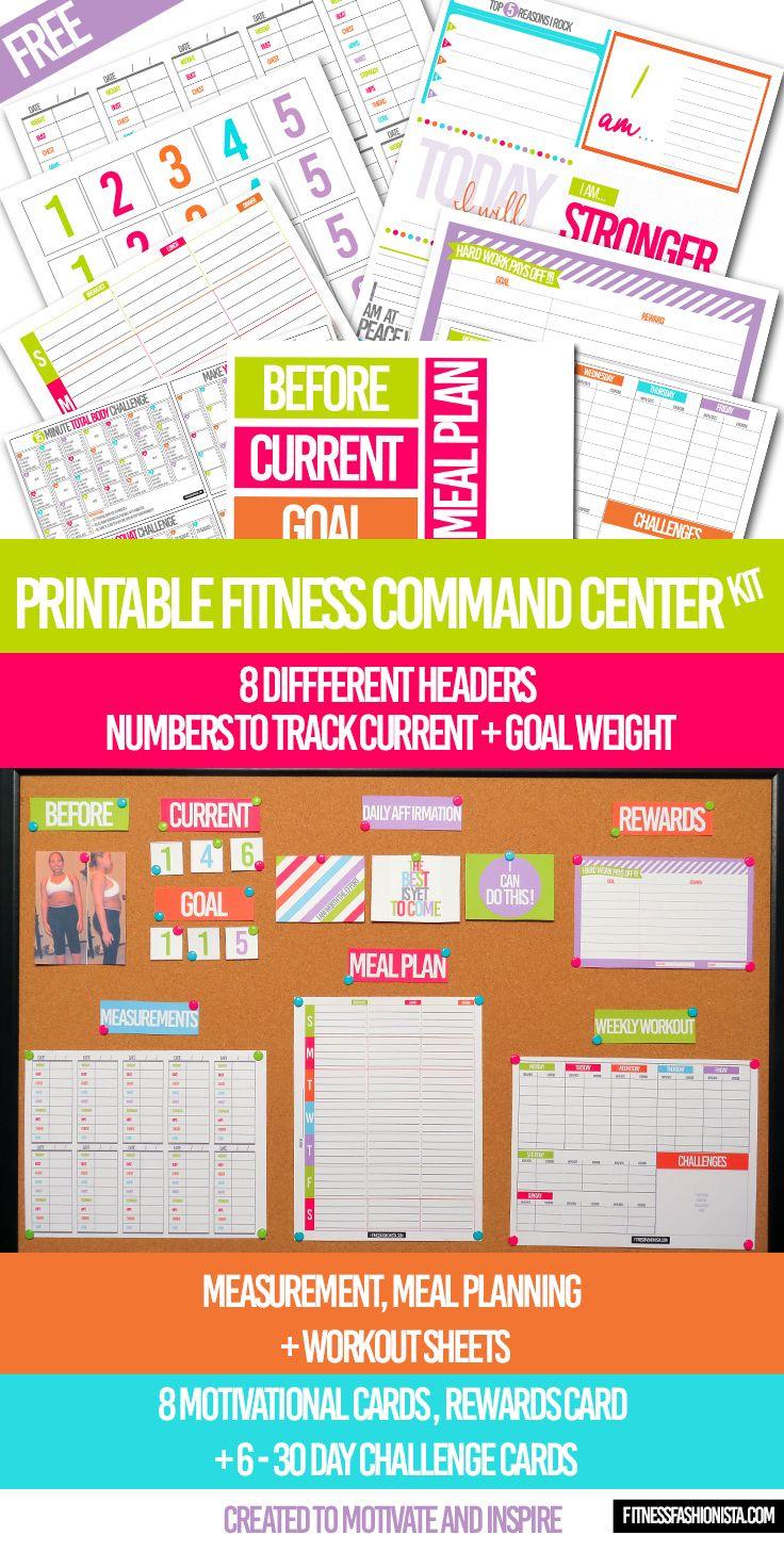 free printable fitness command center kit health fitness