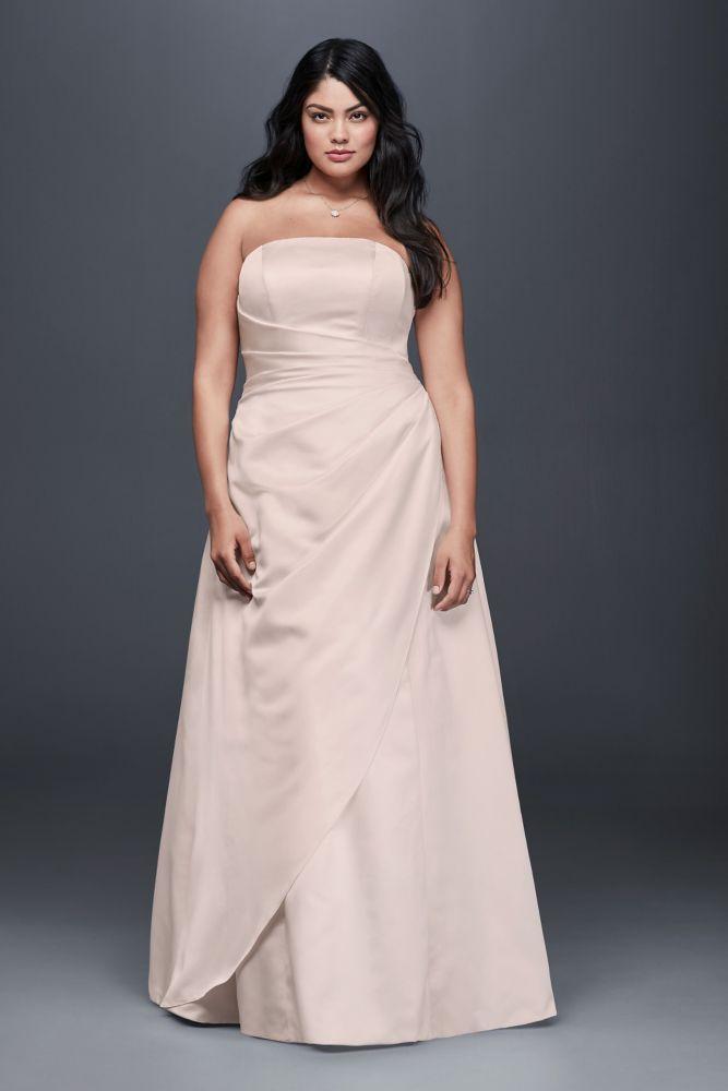 Gathered Satin A-Line Plus Size Wedding Dress - Whisper Pink, 20W ...