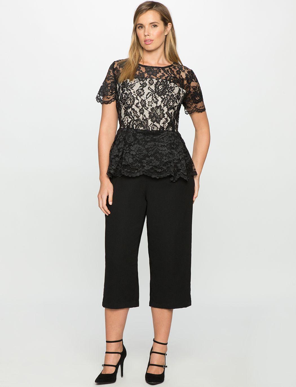 f72b2592716 Studio Lace Bodice Peplum Jumpsuit Black Large Size Clothing