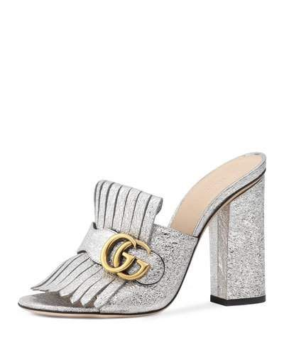 e47a330e0 GUCCI Marmont Metallic Mule Sandal, Silver. #gucci #shoes #sandals ...