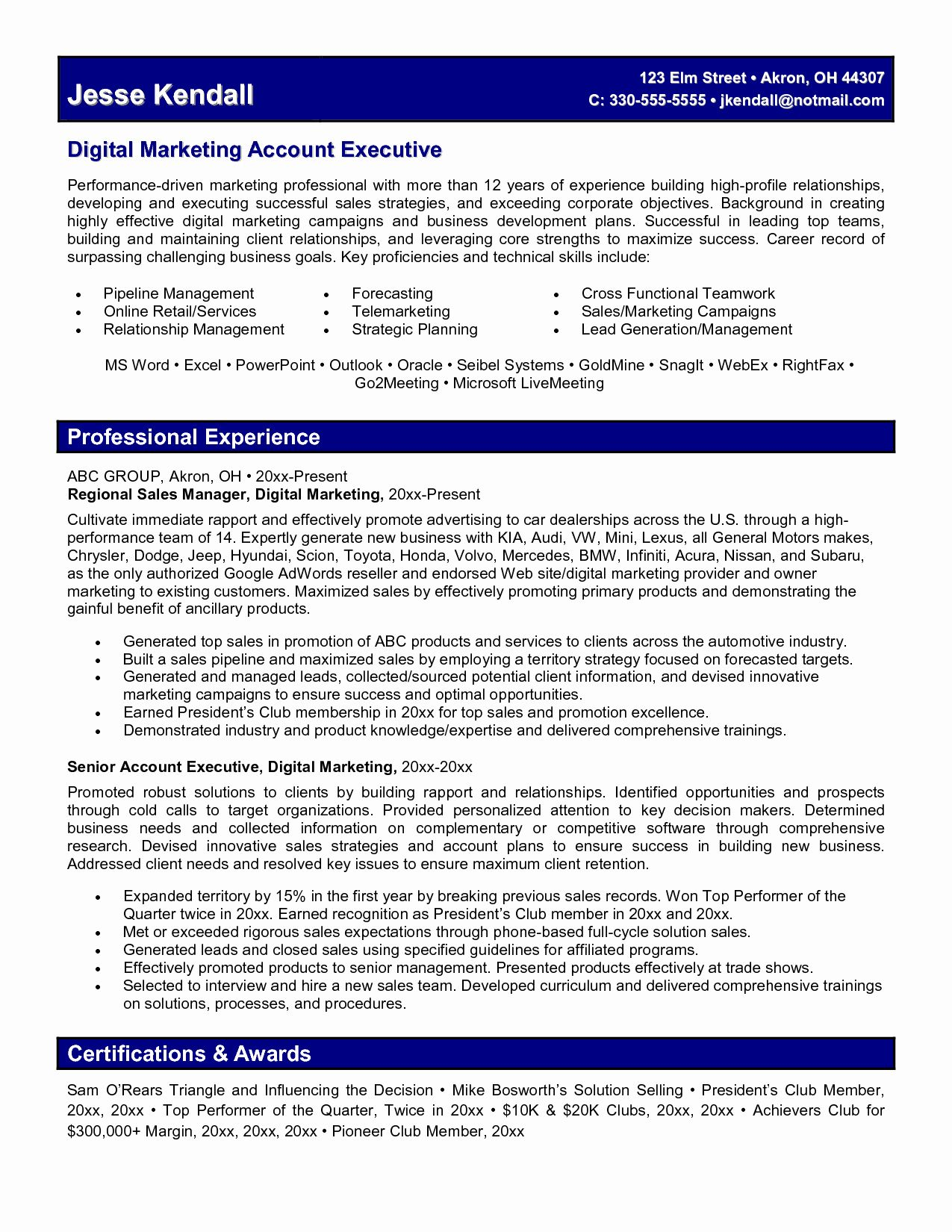 marketing manager resume sample free