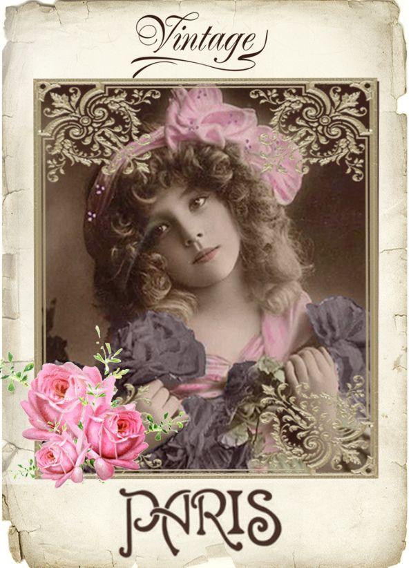 Vintage girl Grete digital collage p1022 free to use