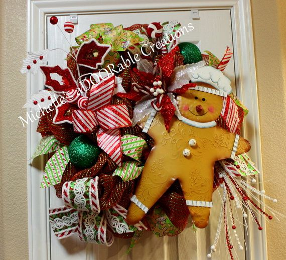 Christmas Wreath, Ginger Bread Man Wreath, Candy Peppermint Christmas Wreath, Ginger Bread Candy Wreath